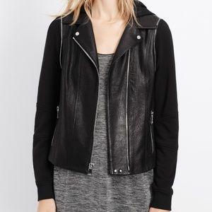 Black Mixed Media Leather Moto Jacket - VINCE.